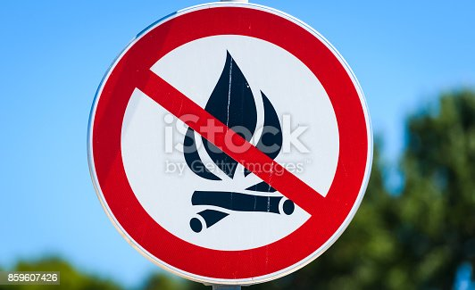 istock No open fire flame allowed warning sign in Croatia. 859607426