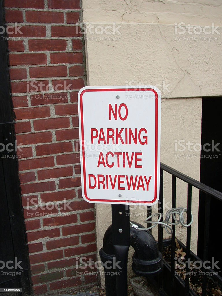 No Parking, Active Driveway royalty-free stock photo