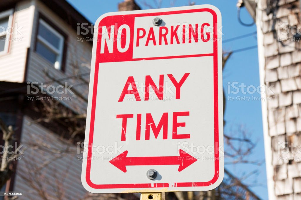 No Parking Any Time stock photo