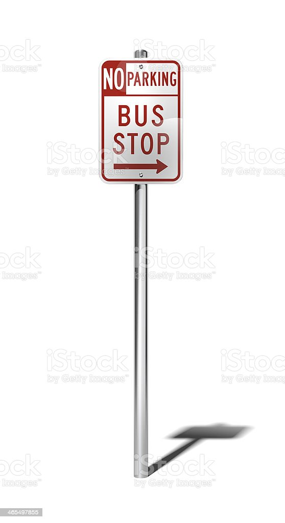 No parking bus stop sign (USA) with clipping path stock photo
