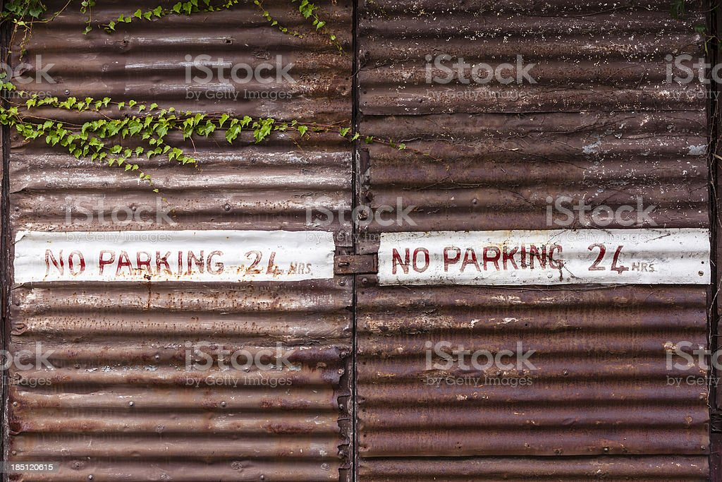 No Parking, Corrugated iron frame background royalty-free stock photo