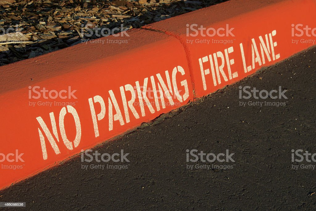 No Parking Fire Lane Curb stock photo