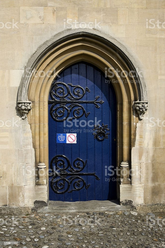 No parking in front of blue door royalty-free stock photo
