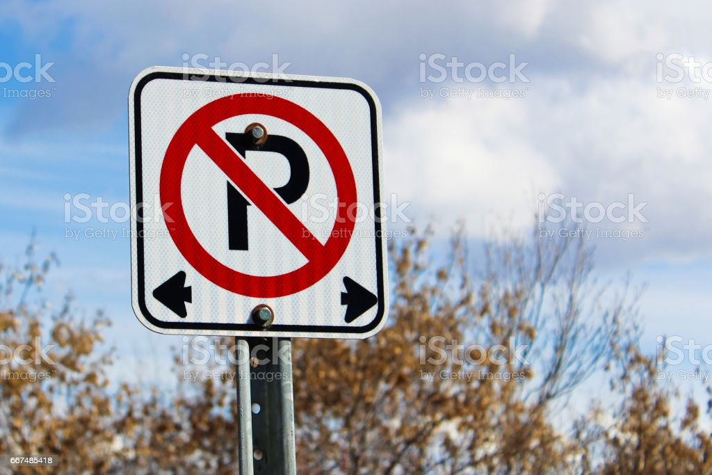No parking left or right of the sign stock photo