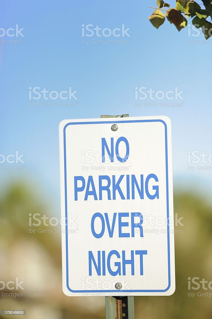 No parking overnight sign royalty-free stock photo
