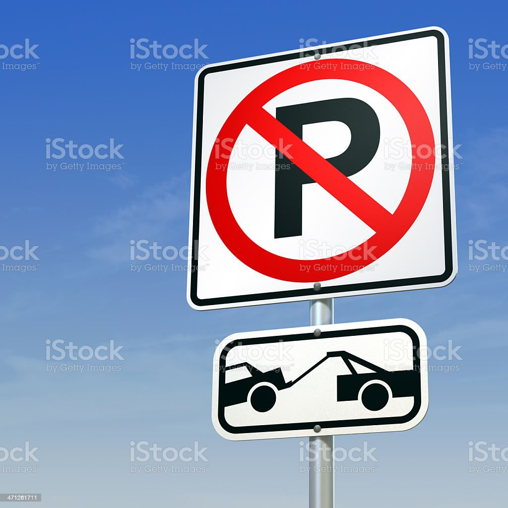 No Parking road sign stock photo