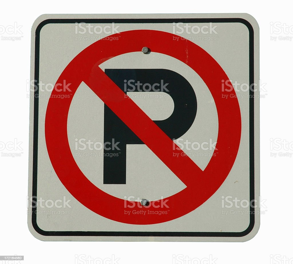 No Parking Sign (Isolated) royalty-free stock photo