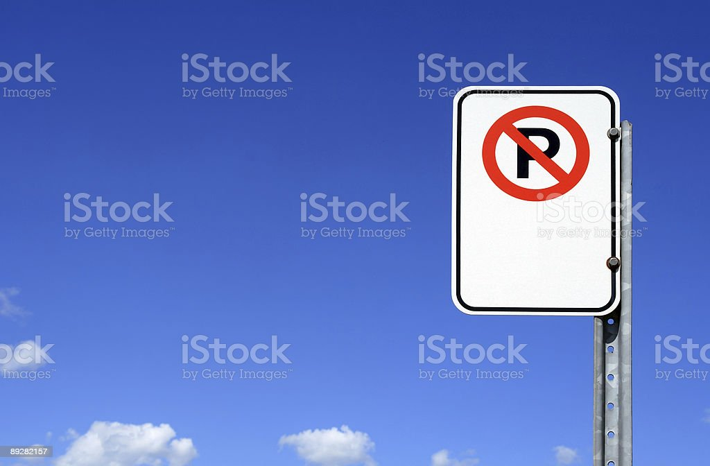 No parking sign with copy space stock photo