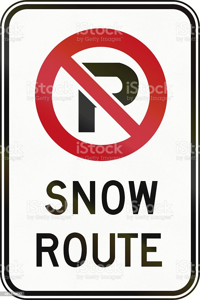 No Parking - Snow Route in Canada stock photo