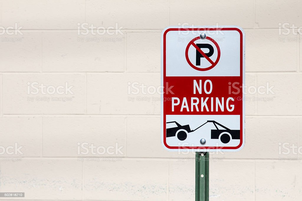 No parking, tow area sign stock photo