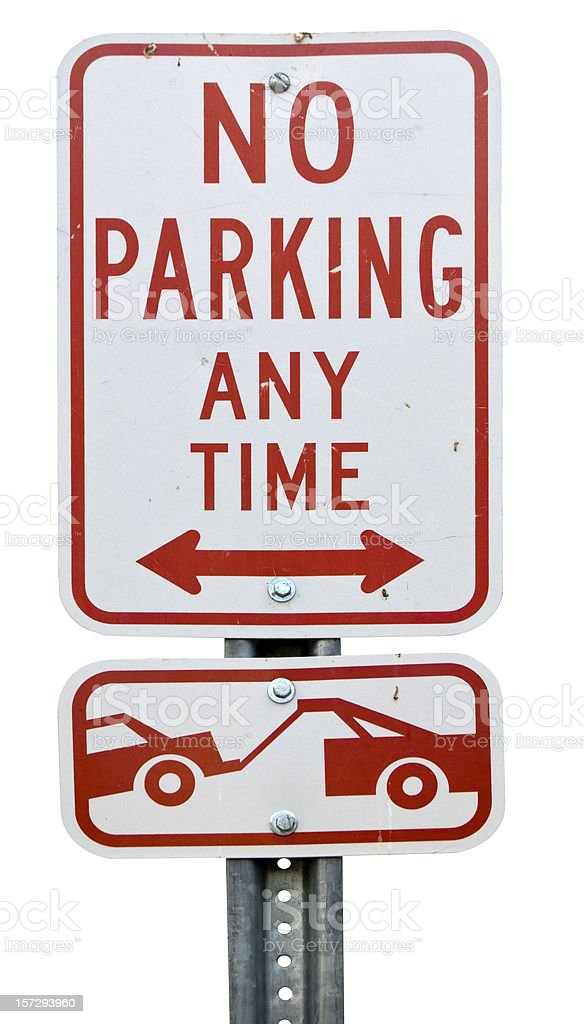 No Parking - Tow Away Zone sign stock photo