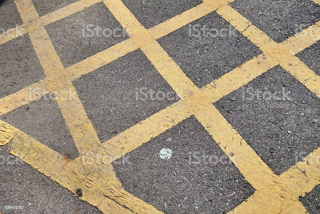 no parking yellow cross zone stock photo