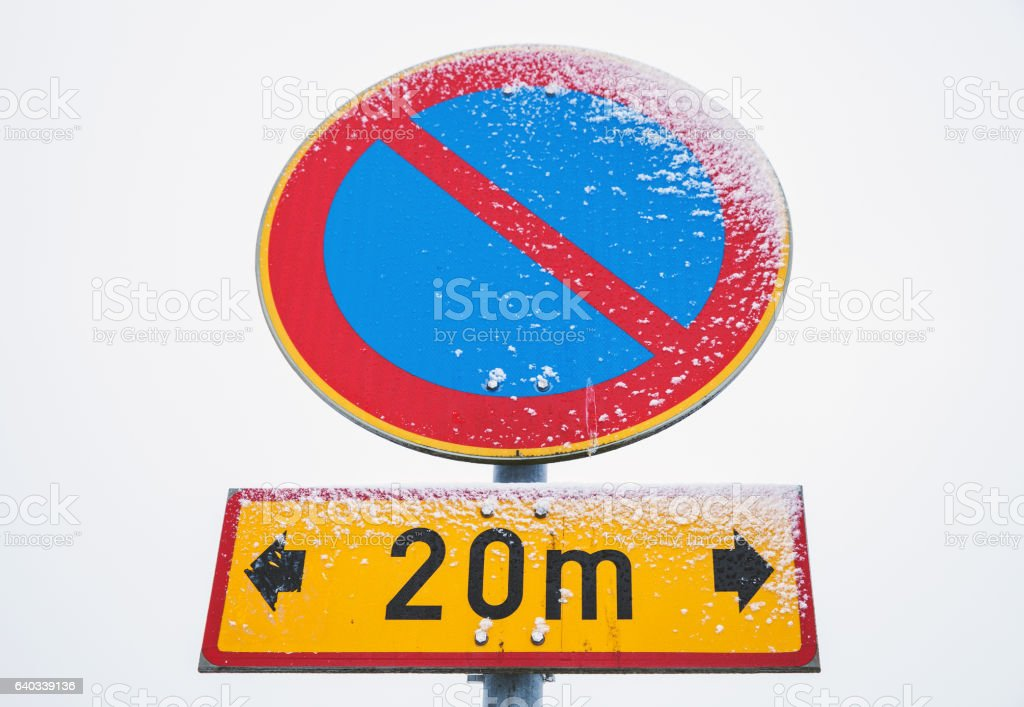 No parking zone, round road sign stock photo