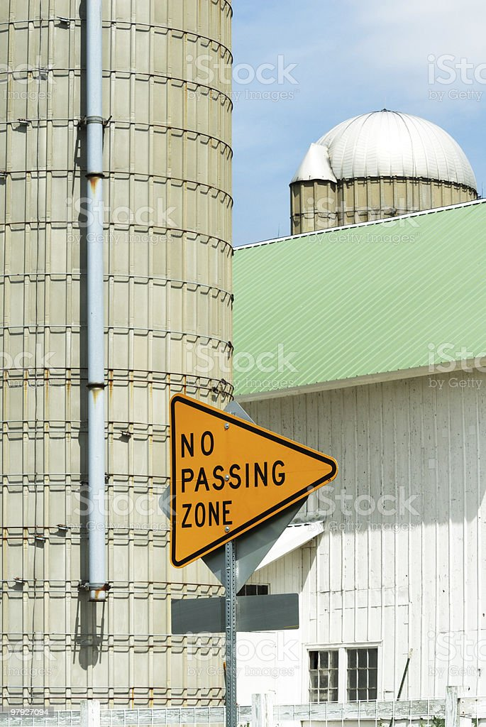 No Passing Sign on the Farm royalty-free stock photo