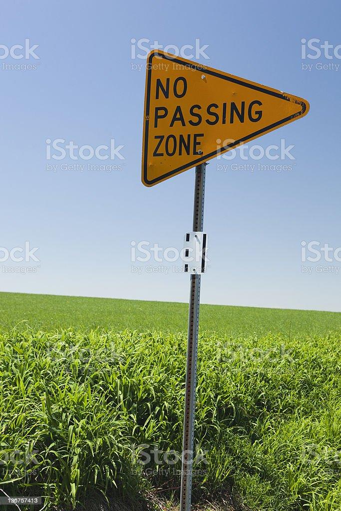 No passing zone signage alongside a road stock photo