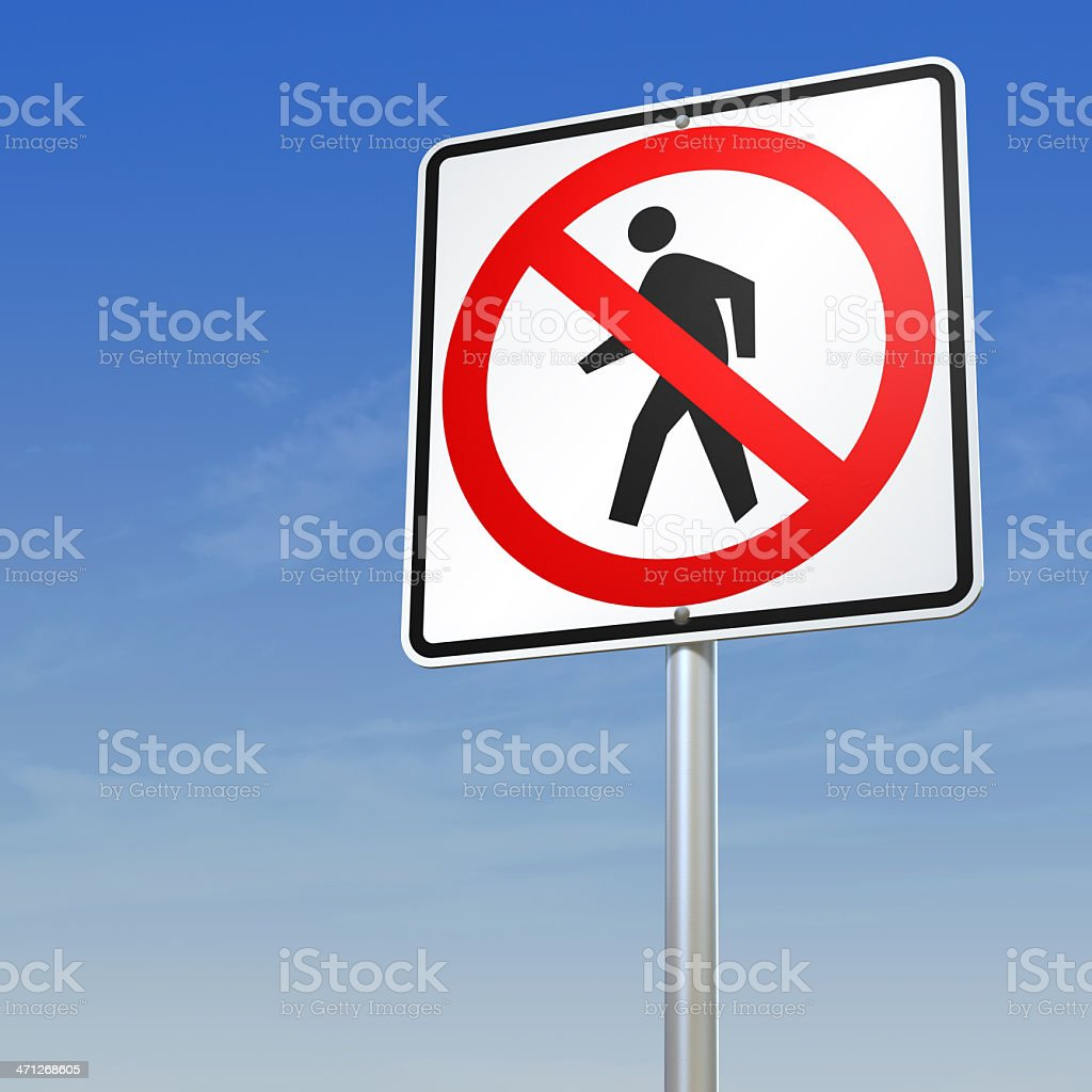 No Pedestrians - forbidding sign with path stock photo