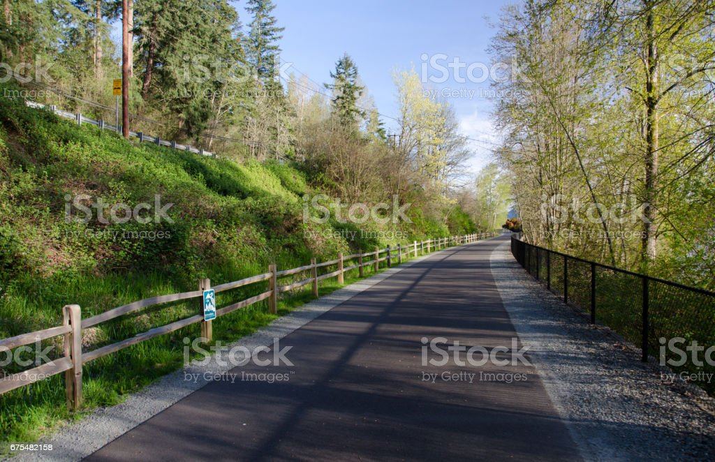 No people on uisually busy Sammamish trail near Landing, Sammamish, Seattle, Washington royalty-free stock photo