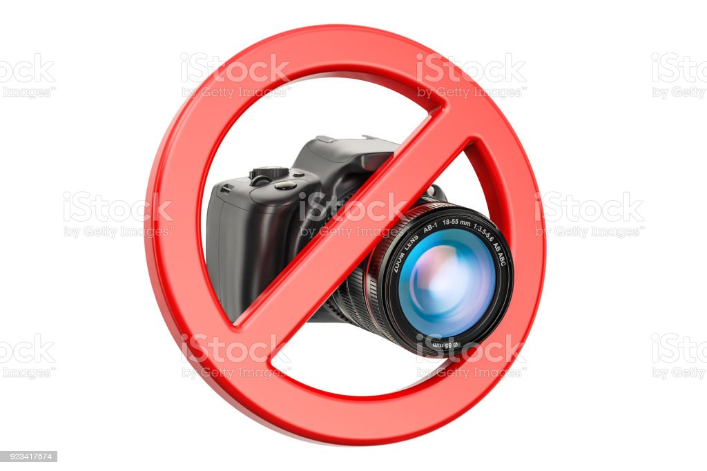 No photo concept. Forbidden sign with digital camera, 3D rendering isolated on white background stock photo