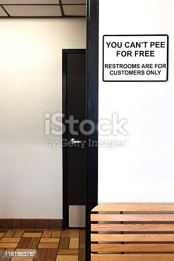Sign prohibiting restroom use by non-customers
