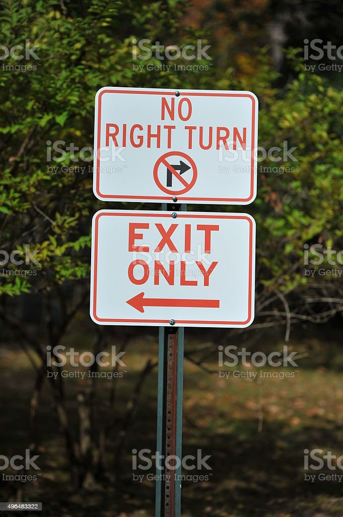 No Right Turn Exit Only stock photo