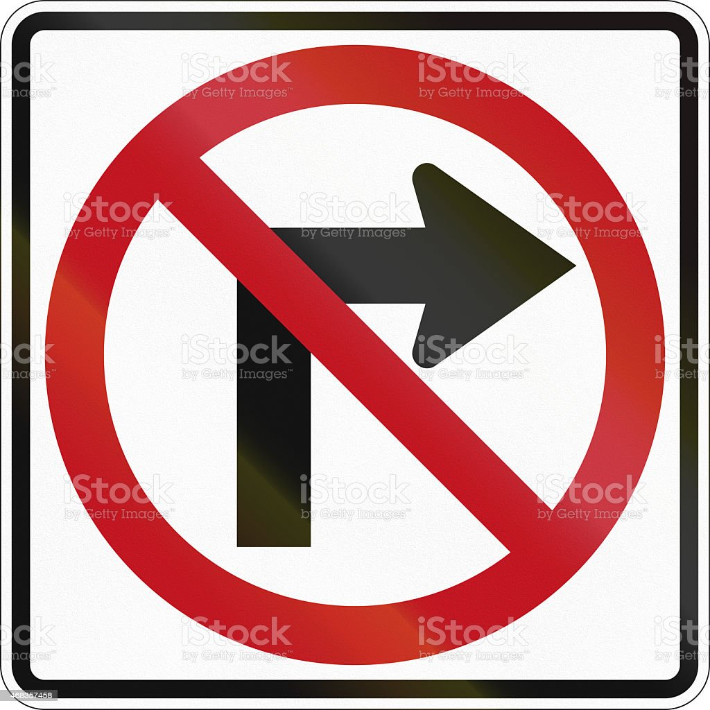 No Right Turn in Canada royalty-free stock photo