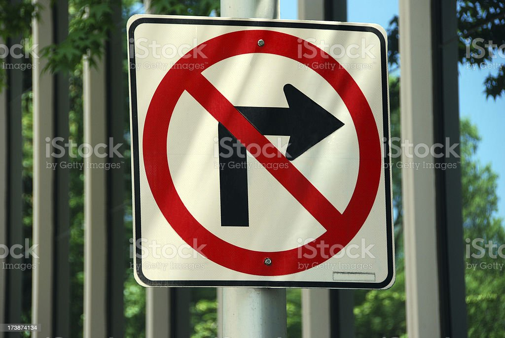 No Right Turn Sign royalty-free stock photo