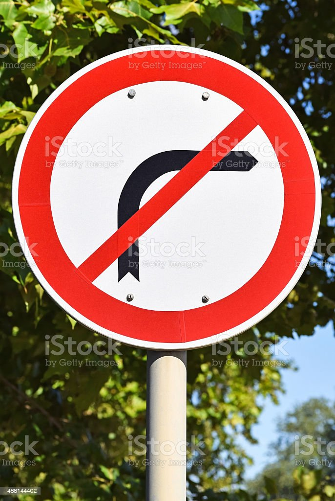 No right turn traffic sign stock photo