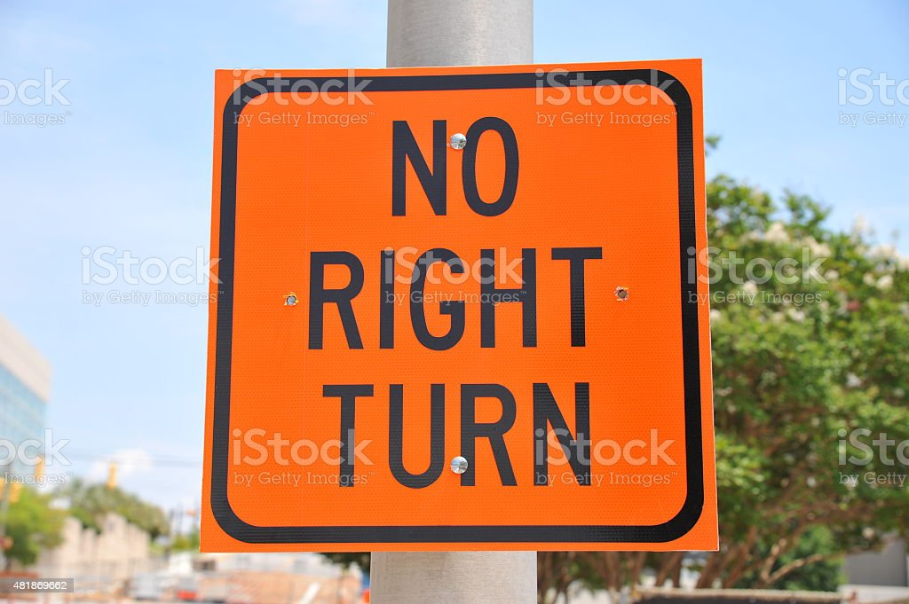 No Right Turns Sign stock photo