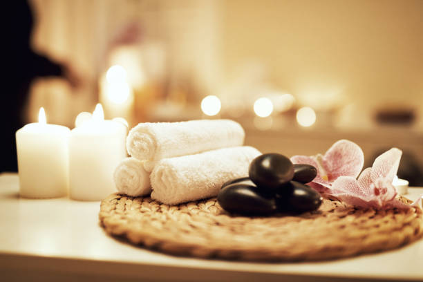 No room for stress in this space Still life shot of various spa essentials on a table spa stock pictures, royalty-free photos & images