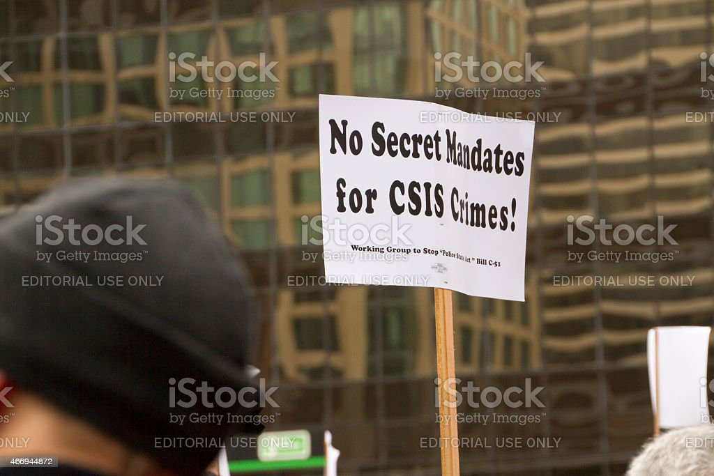 Anti Bill C51 Protest at Vancouver Art Gallery, this sign was held...
