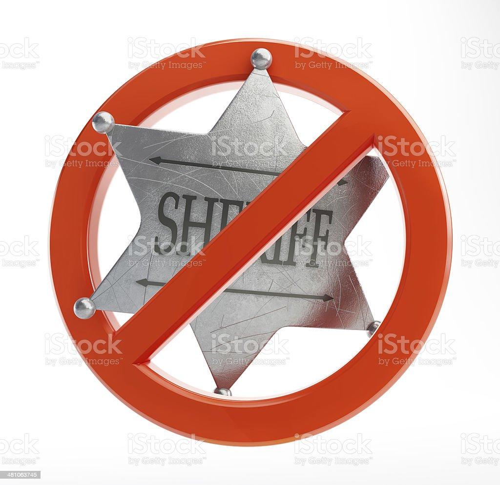 no sheriff on a white background stock photo