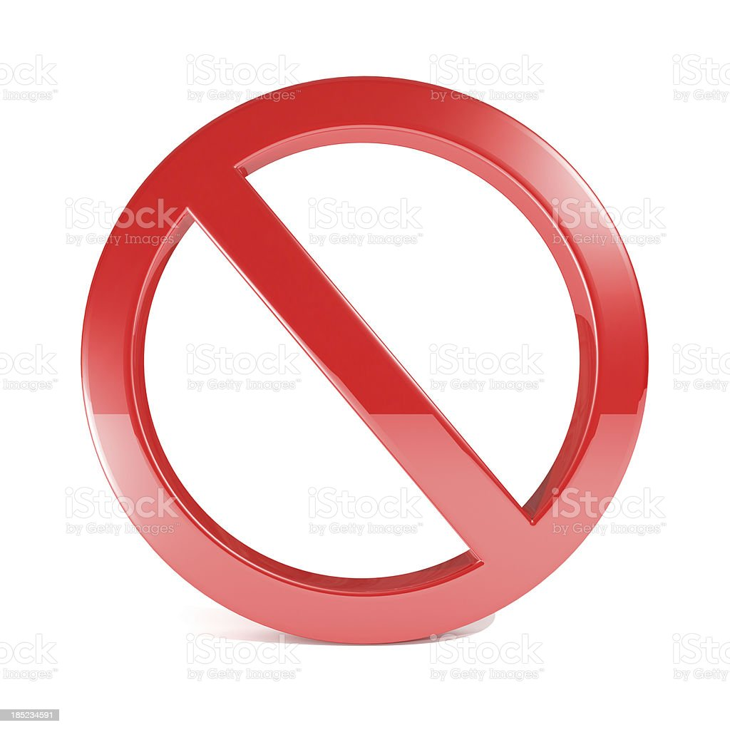 No Sign Isolated On White stock photo