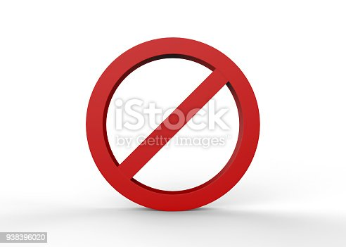 istock No sign on isolated white background 938396020