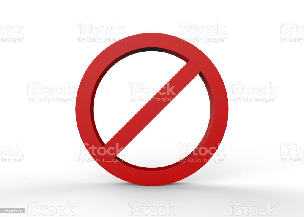 No sign on isolated white background stock photo