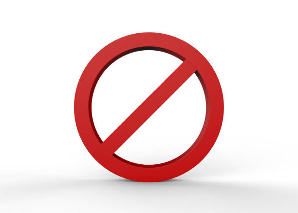 no sign on isolated white background - disbarment stock pictures, royalty-free photos & images
