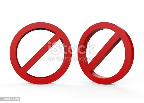 istock No sign on isolated white background 938396028