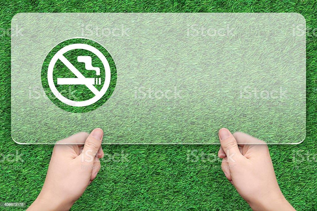No smoke message box with green grass background stock photo