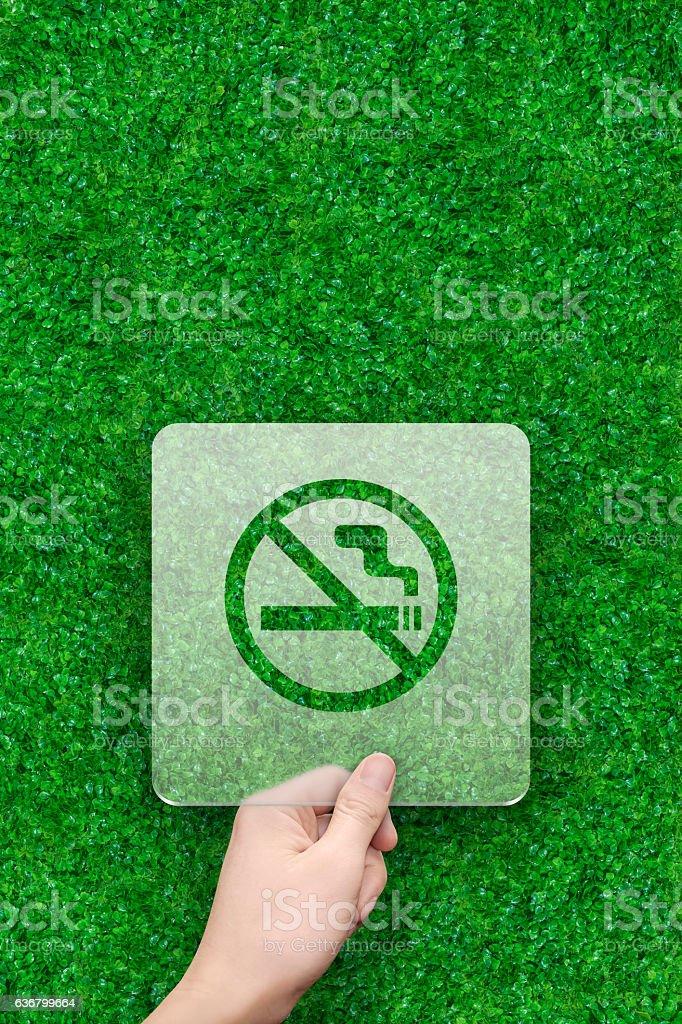 no smoke symbol message box with green grass background stock photo