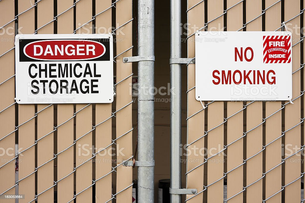 No Smoking and Hazardous Chemicals signs stock photo