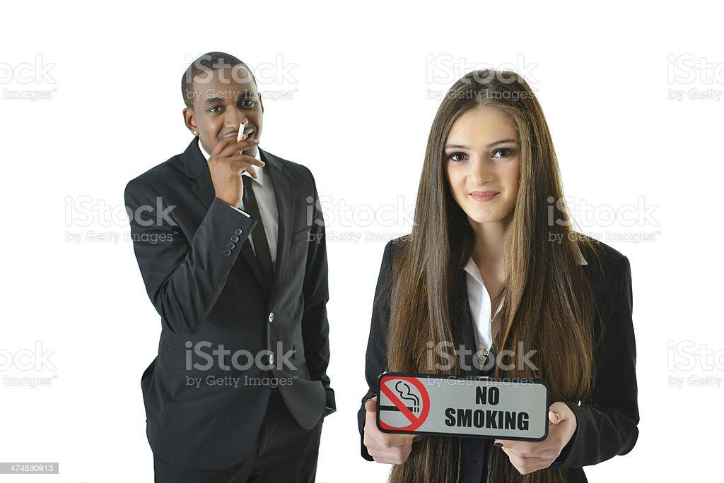 No Smoking (smiling) royalty-free stock photo