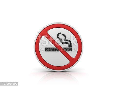 istock No Smoking Road Sign - 3D Rendering 1070994502