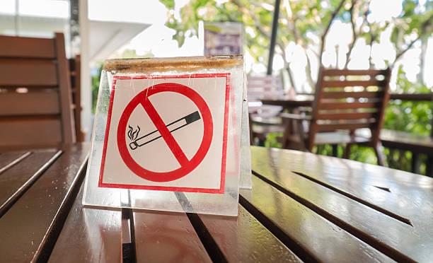 No smoking sign displayed stock photo
