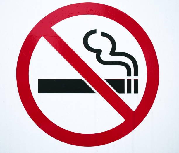 No smoking sign in garden park stock photo