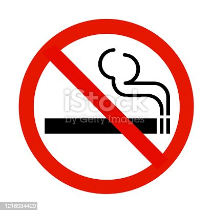 A no smoking sign isolated on white with clipping path