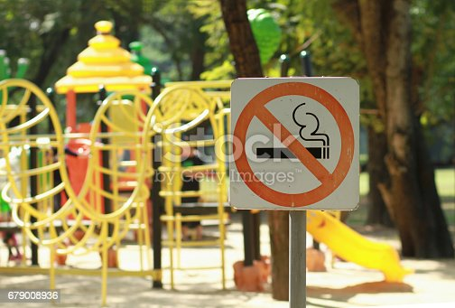 istock No smoking sign near children's playground in public park 679008936