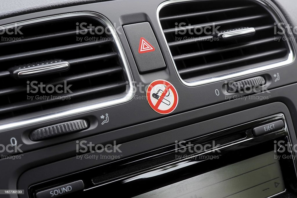 No Smoking sign on car dashboard royalty-free stock photo
