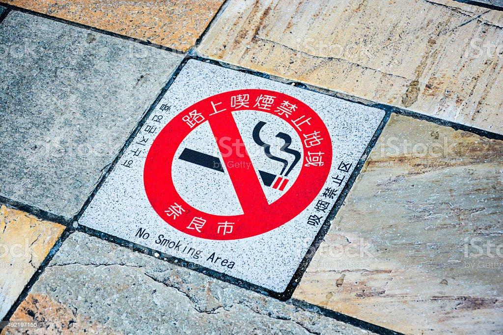 No Smoking Sign on Pavement stock photo