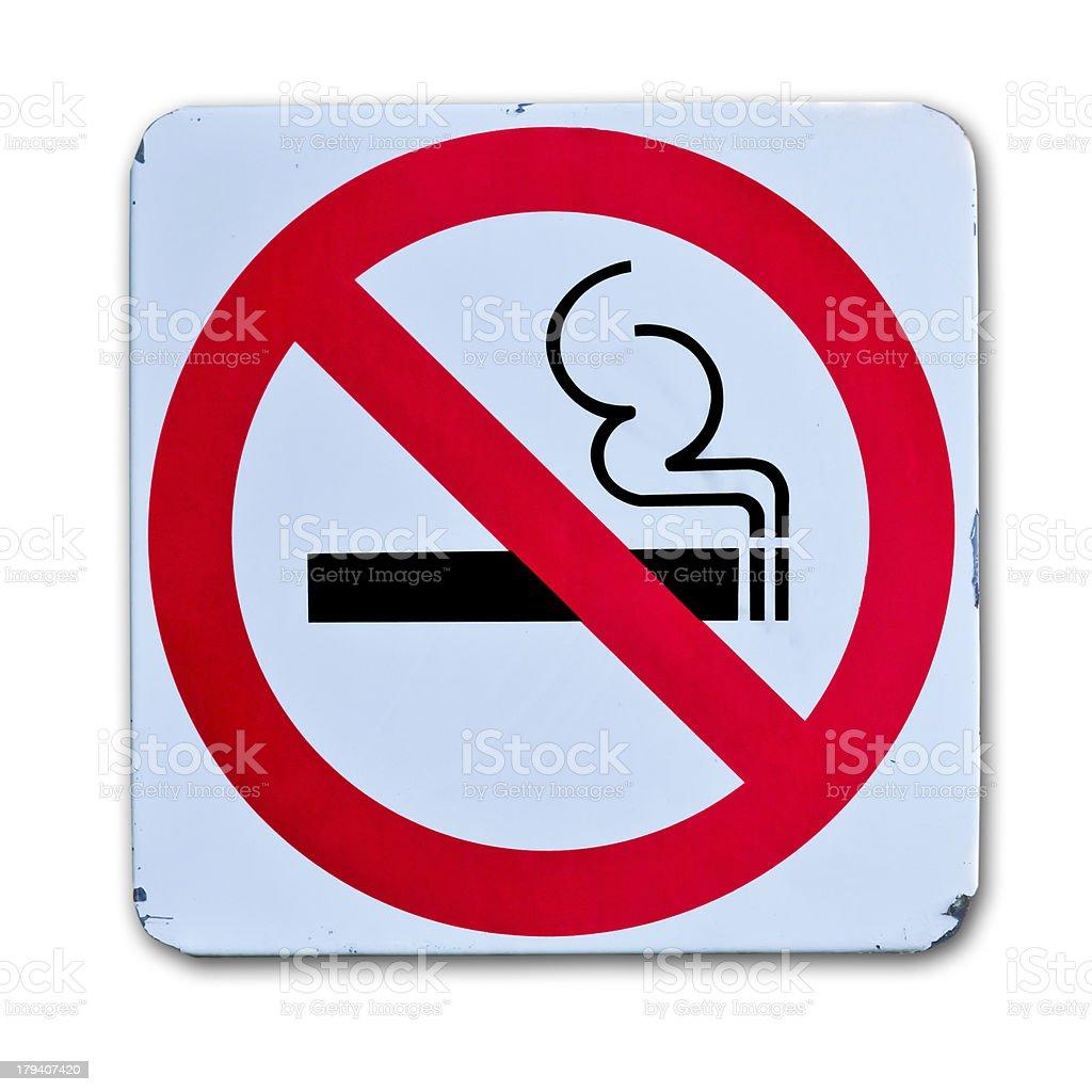 no smoking warning sign on white background stock photo
