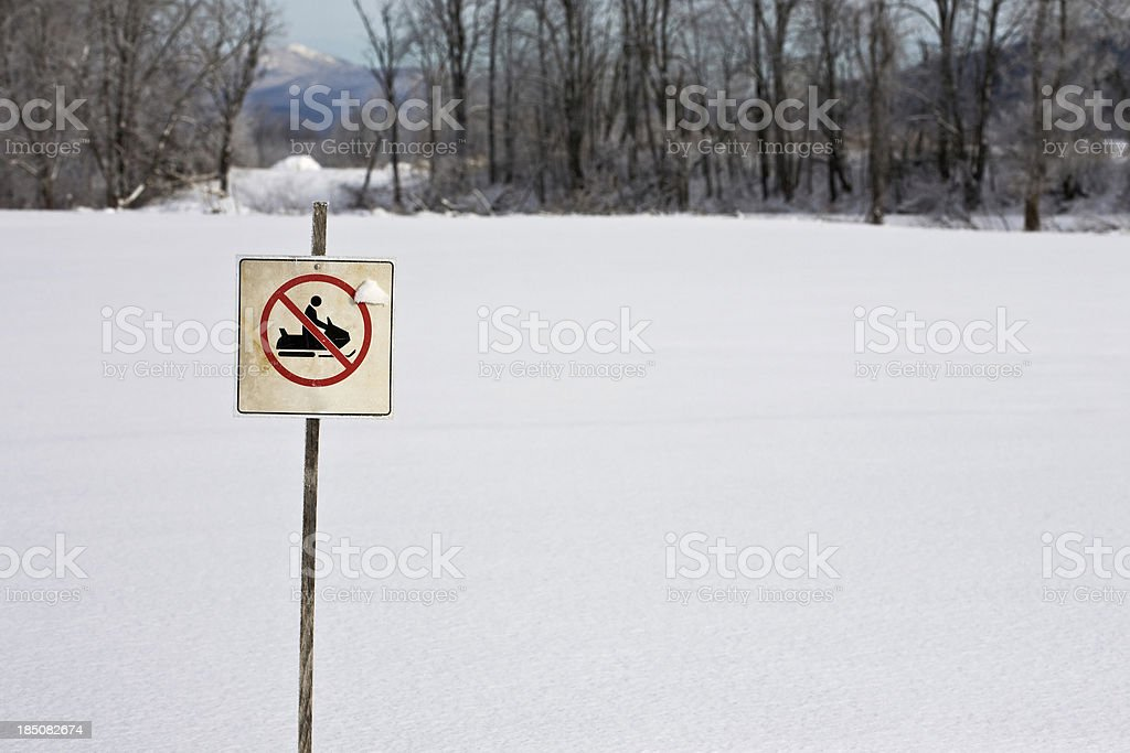No Snowmobiles stock photo