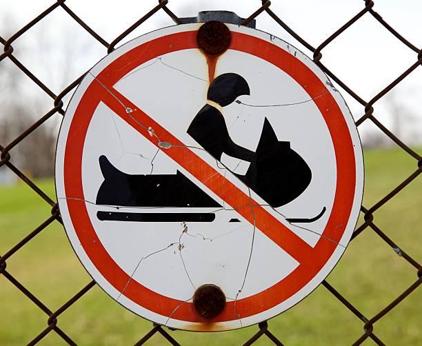 No snowmobiling stock photo